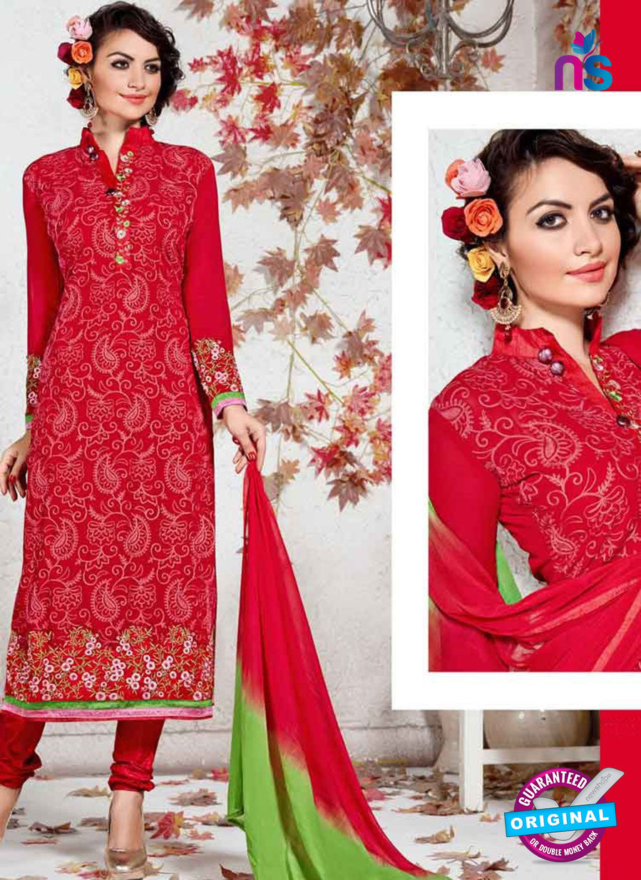 SC 12361 Red and Green Georgette with Schiffli Work Party Wear Straight Suit