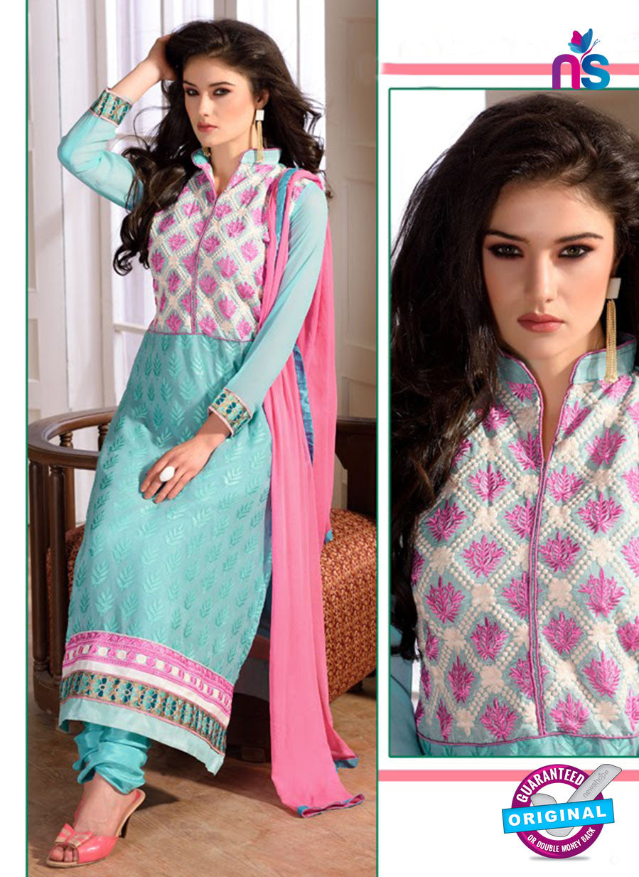 SC 12740 Blue and Pink Embroidered Brasso Straight Suit