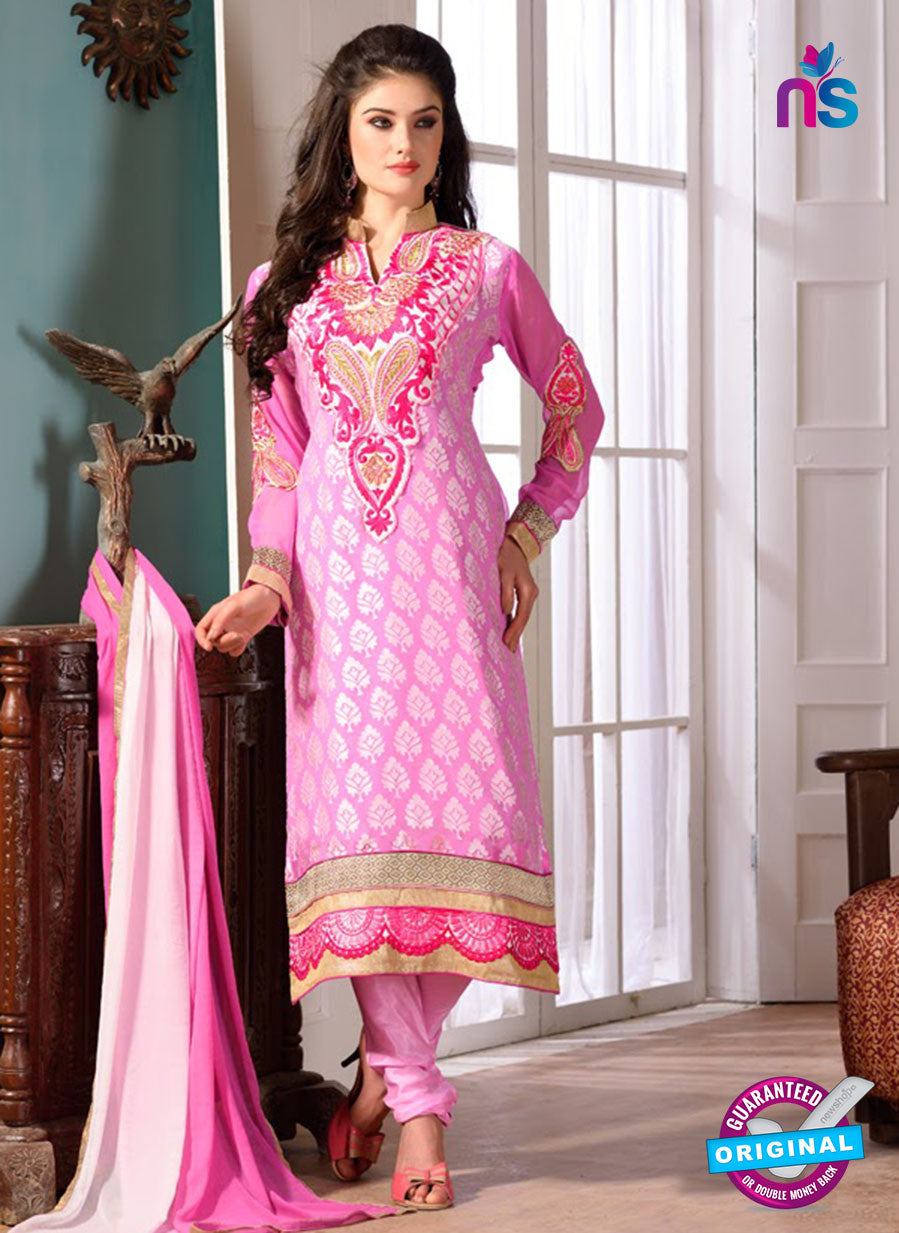 SC 12739 Pink Embroidered Brasso Straight Suit