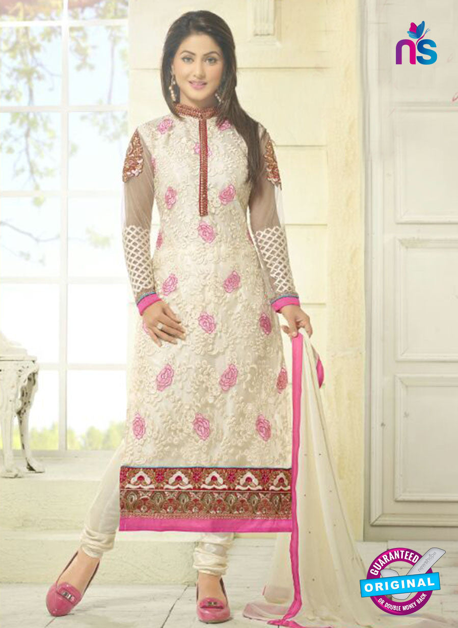 NS10730 Ivory and Pink Georgette Straight Suit