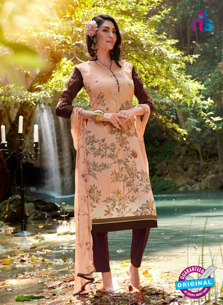 Teazle 2101 Brown & Beige Color Cambric Cotton Designer Suit