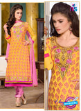 SC 12736 Yellow and Pink Embroidered Brasso Straight Suit