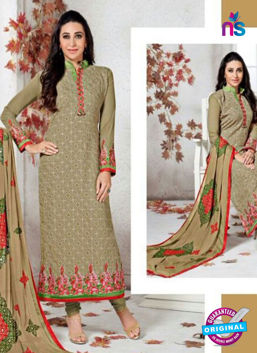 SC 12363 Brown and Multicolor Georgette with Schiffli Work Party Wear Straight Suit
