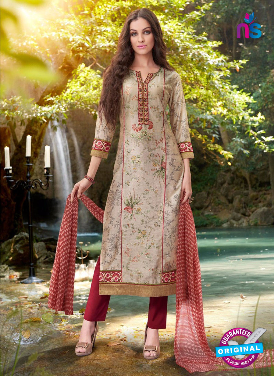 Teazle 2102 Red & Grey Color Cambric Cotton Designer Suit