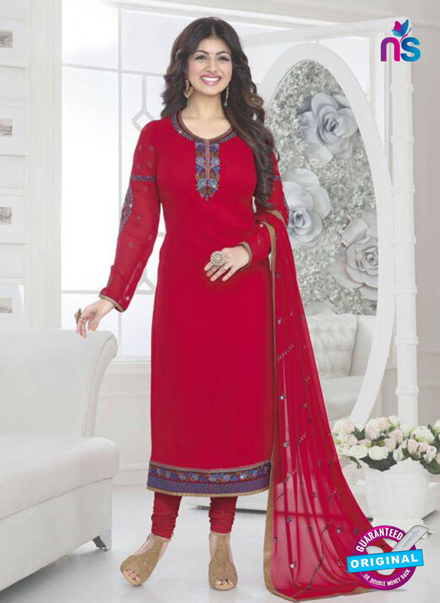 Fiona 21031 Red and Blue Faux Georgette Party Wear Straight Suit