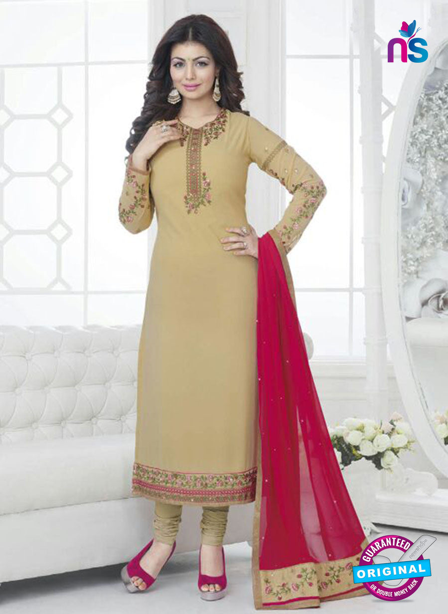 Fiona 21032 Brown and Pink Faux Georgette Party Wear Straight Suit