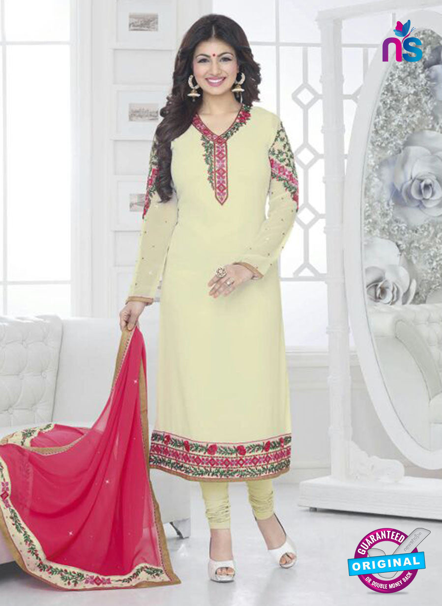 Fiona 21036 Beige and Pink Faux Georgette Party Wear Straight Suit