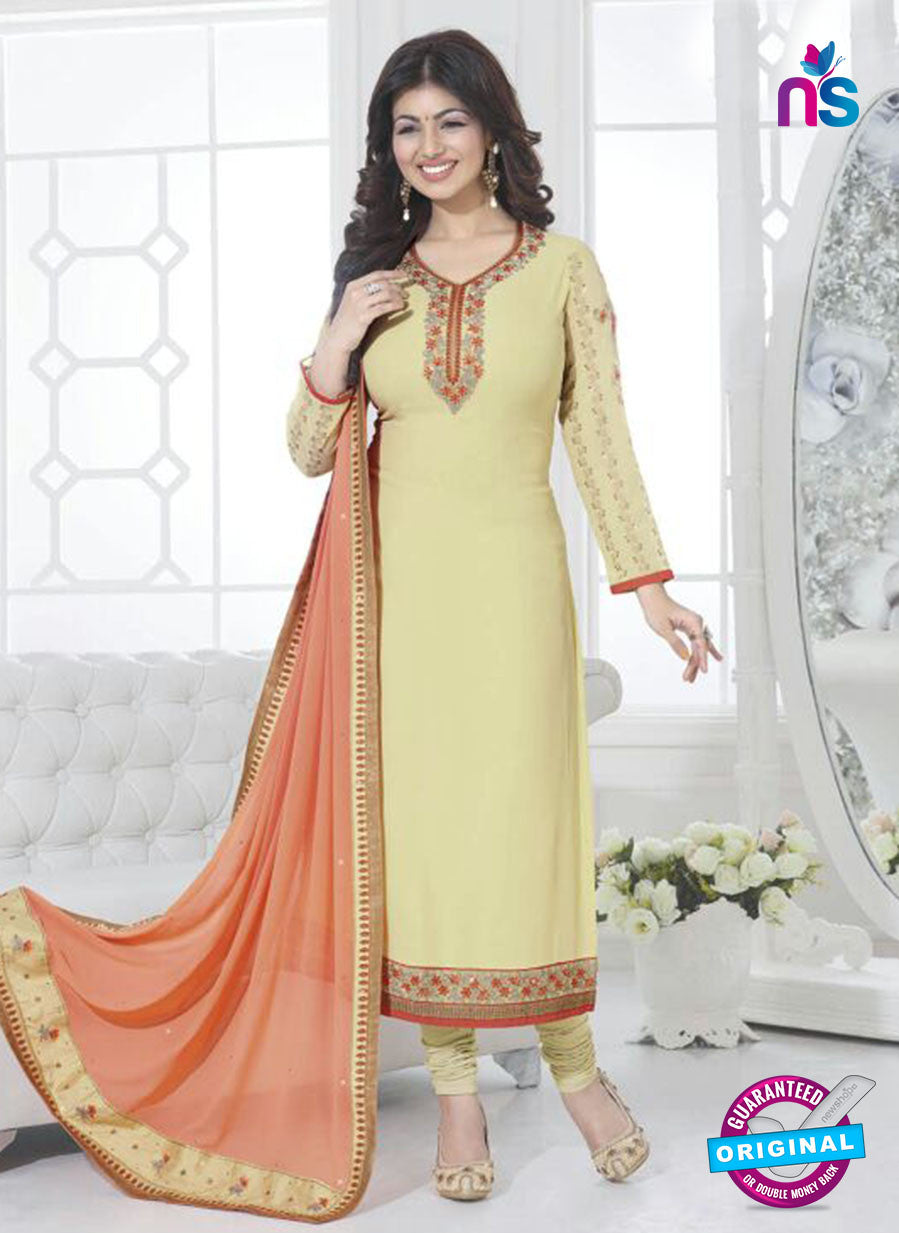 Fiona 21037 Yellow and Peach Faux Georgette Party Wear Straight Suit