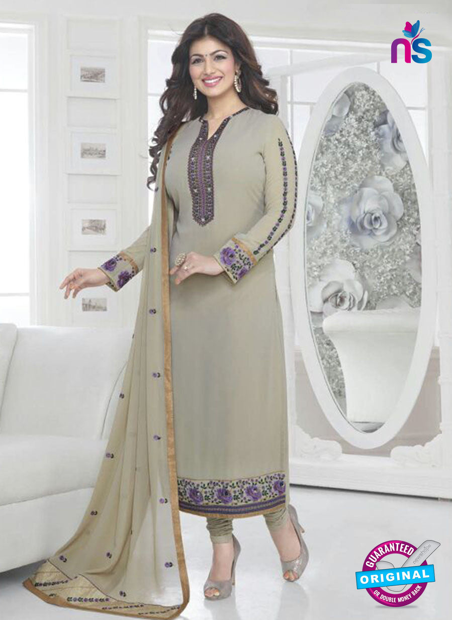 Fiona 21038 Grey and Purple Faux Georgette Party Wear Straight Suit