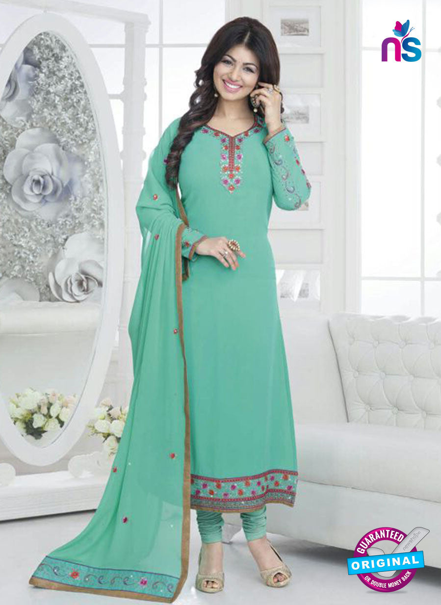 Fiona 21039 Sea Blue and Pink Faux Georgette Party Wear Straight Suit