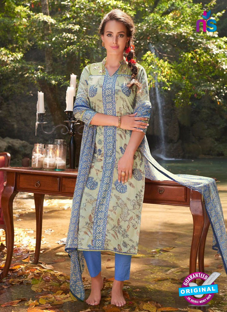 Teazle 2104 Blue & Beige Color Cambric Cotton Designer Suit