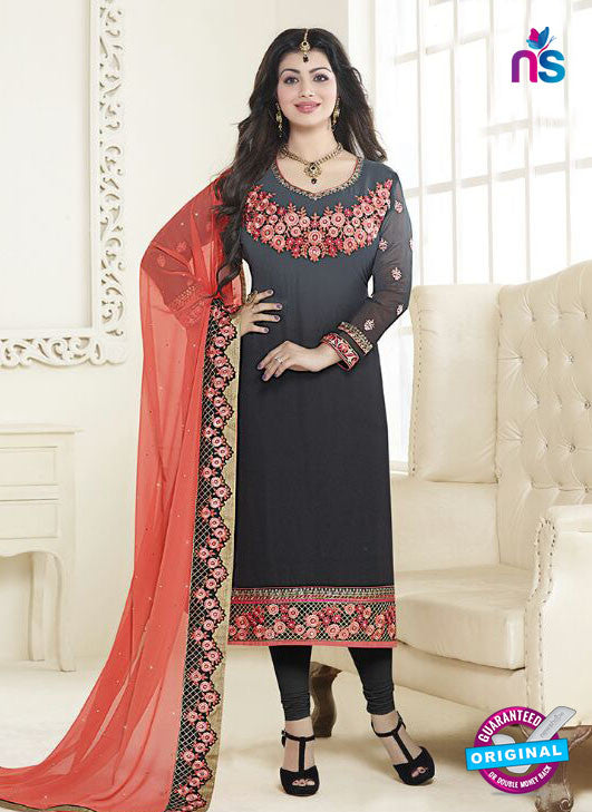 Fiona 21057 Black and Grey Faux Georgette Latest Occasion Wear Designer Straight Suit