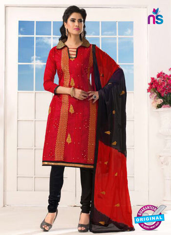 NS10210 Green and Red Casual Chanderi Salwar Suit