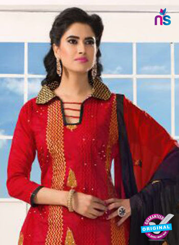 NS10210 Black and Red Casual Chanderi Salwar Suit