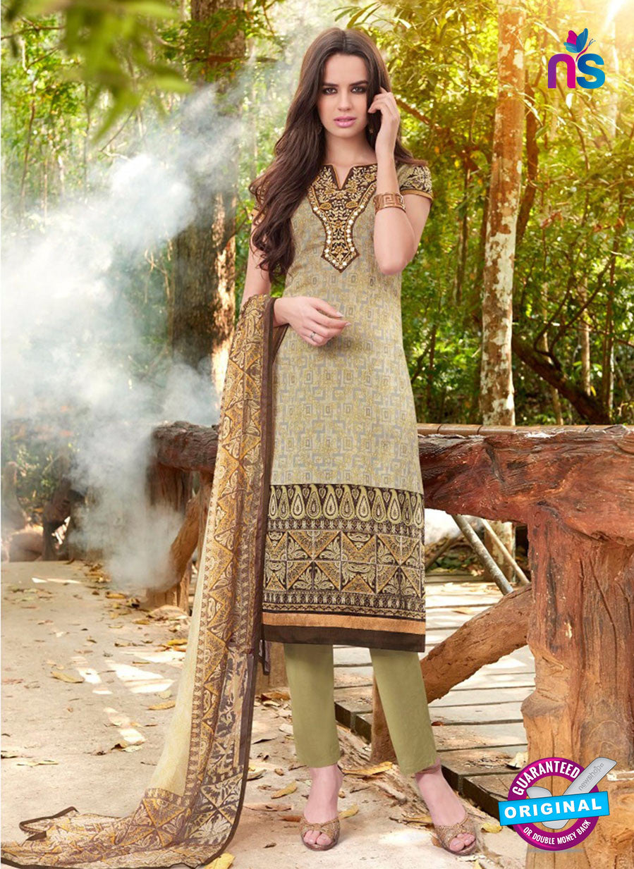 Teazle 2105 Green Color Cambric Cotton Designer Suit