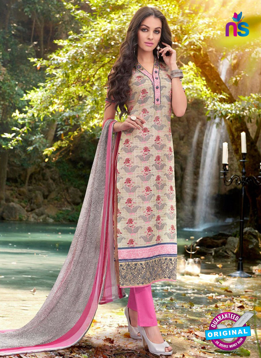 Teazle 2106 Pink & Beige Color Cambric Cotton Designer Suit