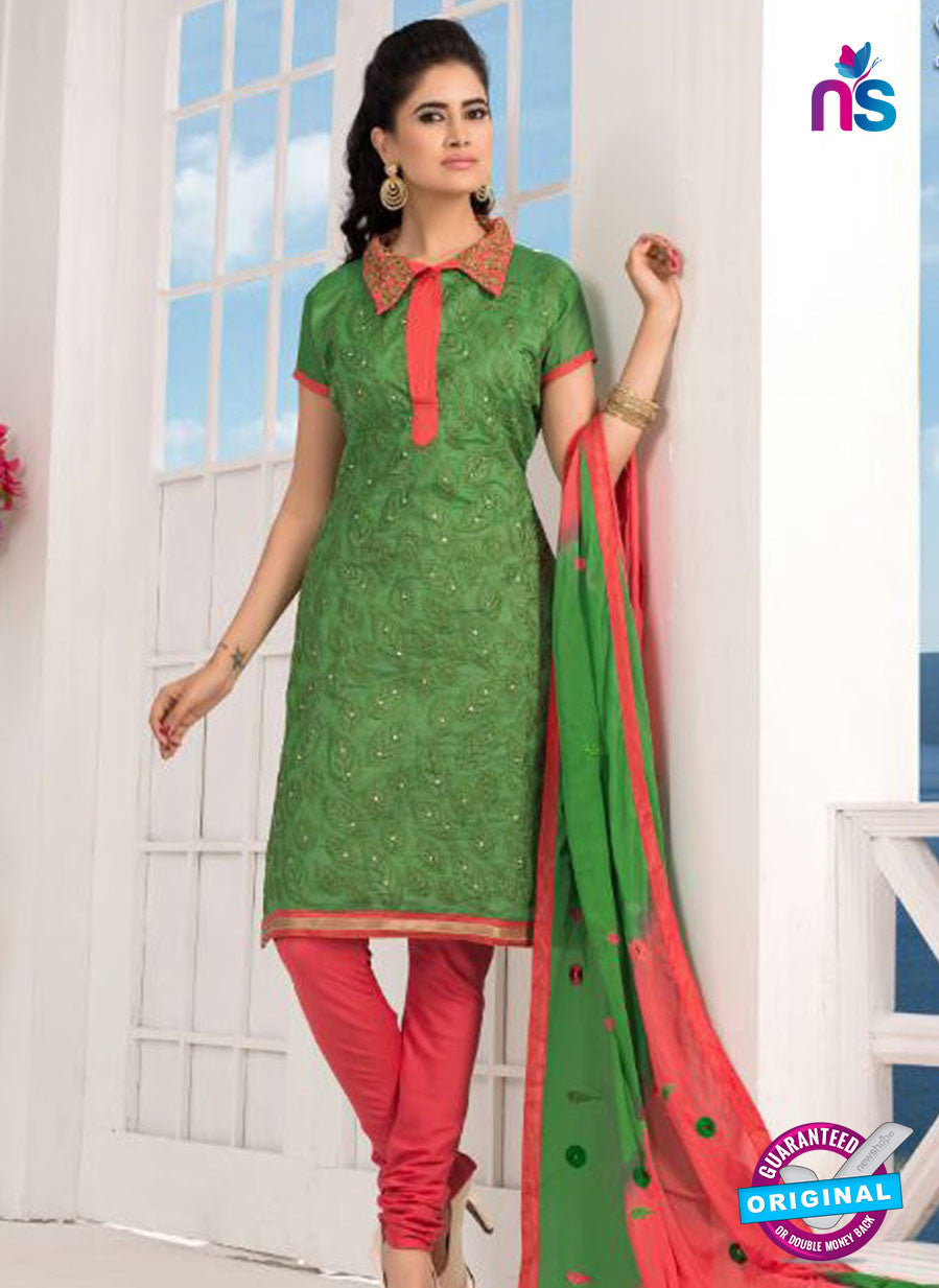 NS10211  Green and Red Casual Chanderi Salwar Suit