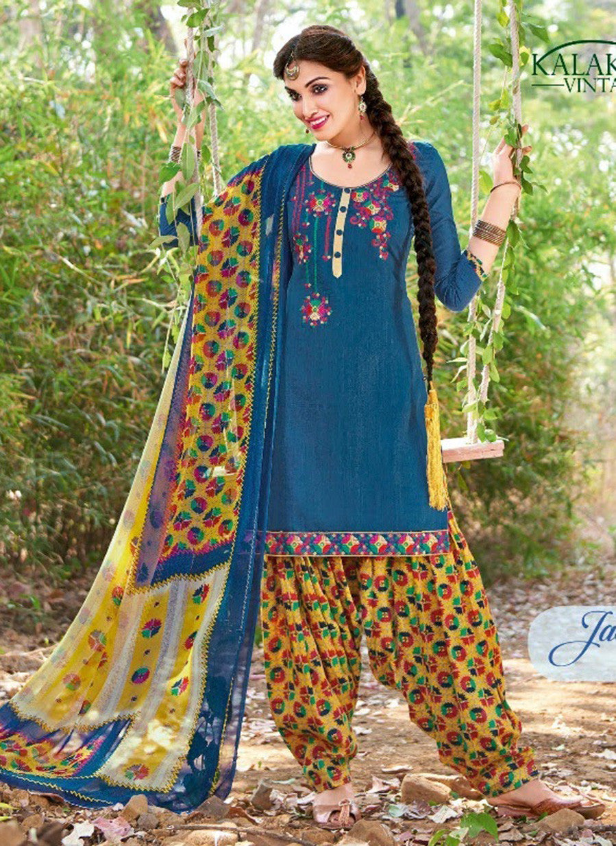 Kalakirti 2109 Blue Color Glace Cotton Designer Suit