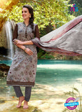 Teazle 2109 Grey & Brown Color Cambric Cotton Designer Suit