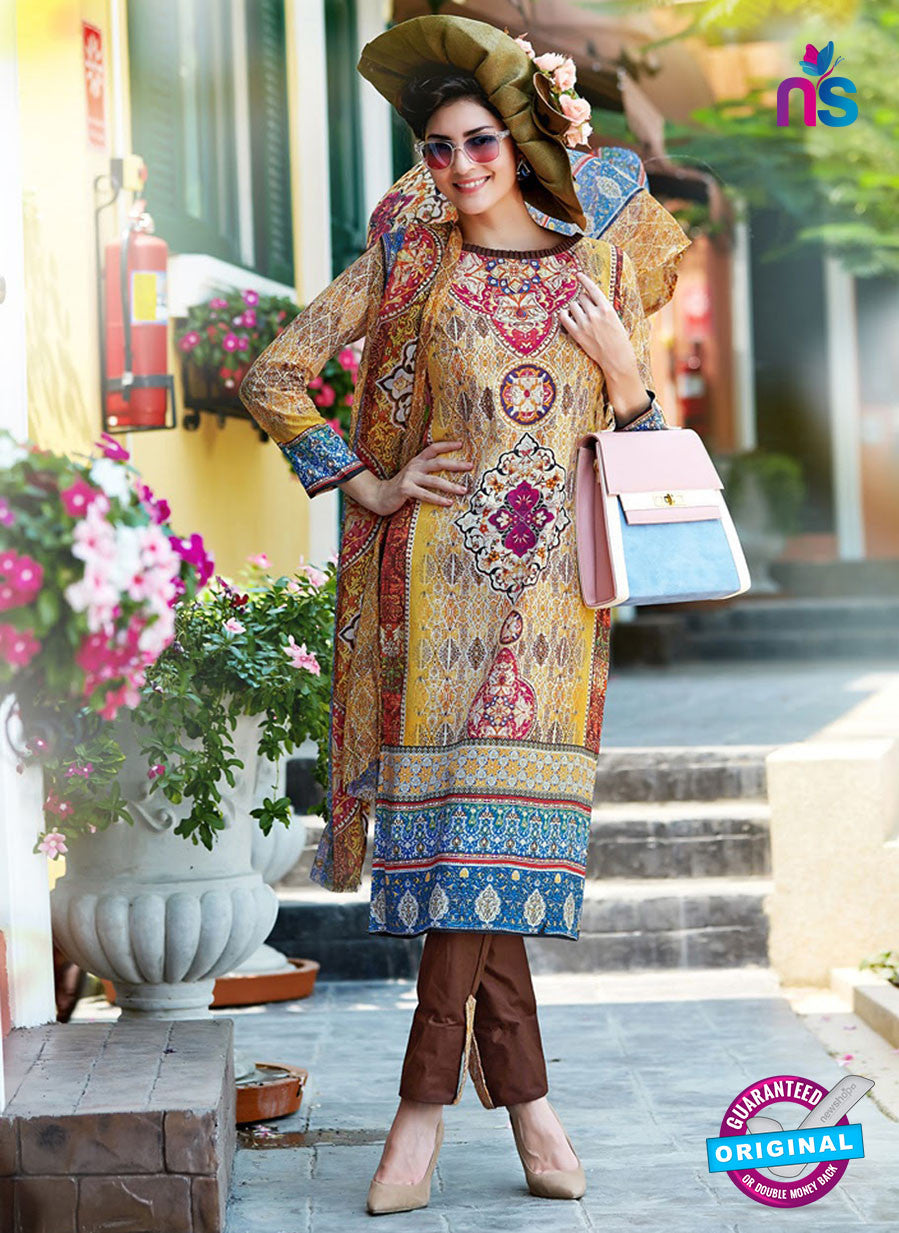 SC 12643 Yellow and Brown Printed Cambric Pakistani Suit