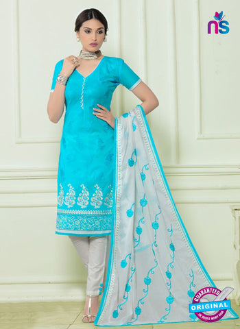 SC 12560 Blue and White Embroidered Lawn Cotton Party Wear Straight Suit