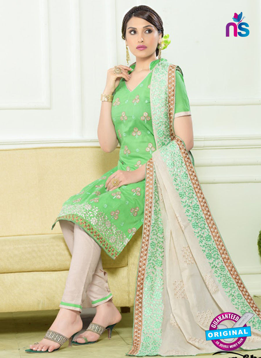 SC 12558 Green and White Embroidered Lawn Cotton Party Wear Straight Suit
