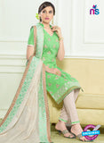 SC 12960 Green and Beige Embroidered Lawn Cotton Party Wear Straight Suit