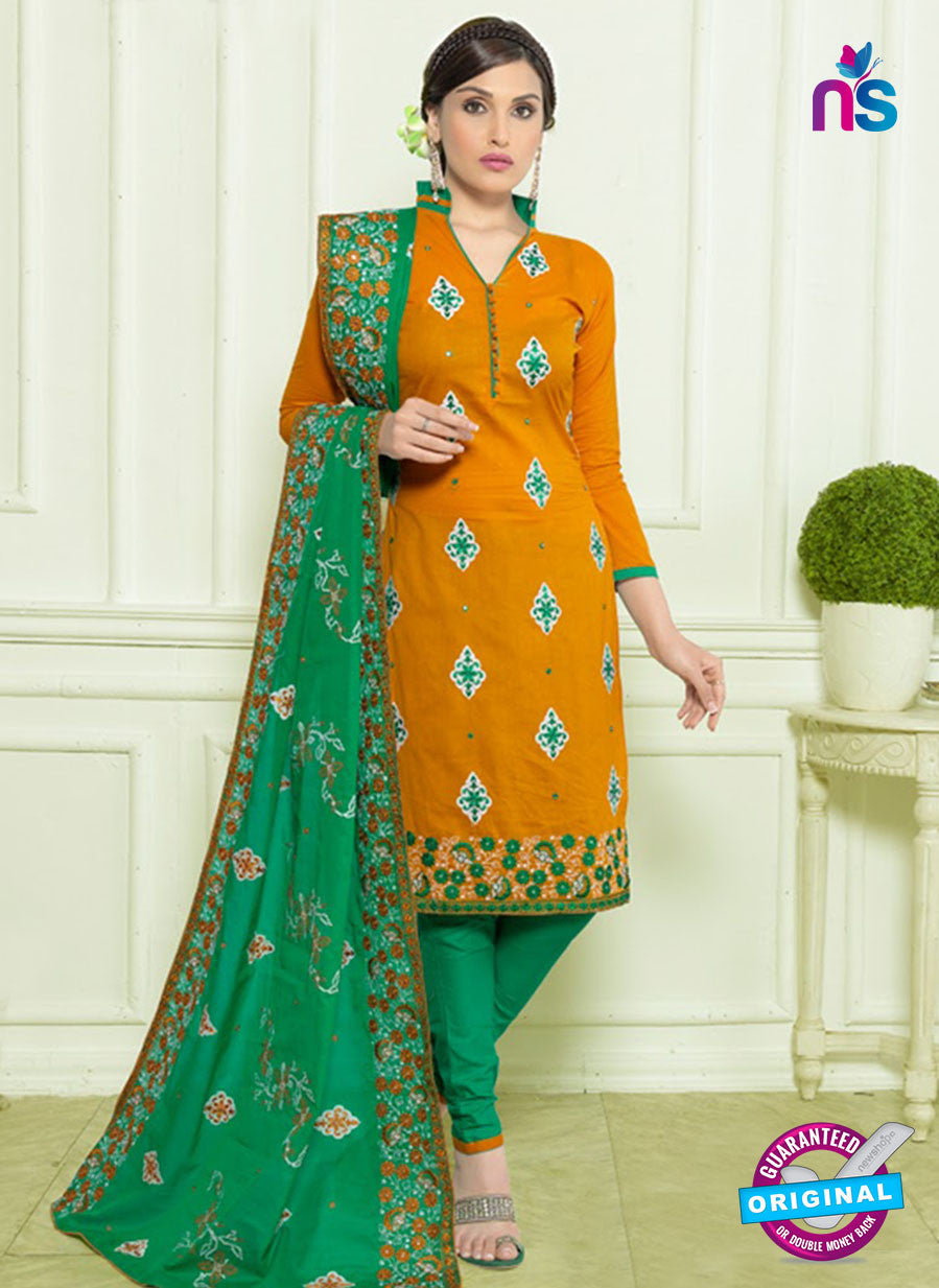 SC 12958 Orange and Green Embroidered Lawn Cotton Party Wear Straight Suit