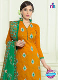 SC 12958 Yellow and Green Embroidered Lawn Cotton Party Wear Straight Suit