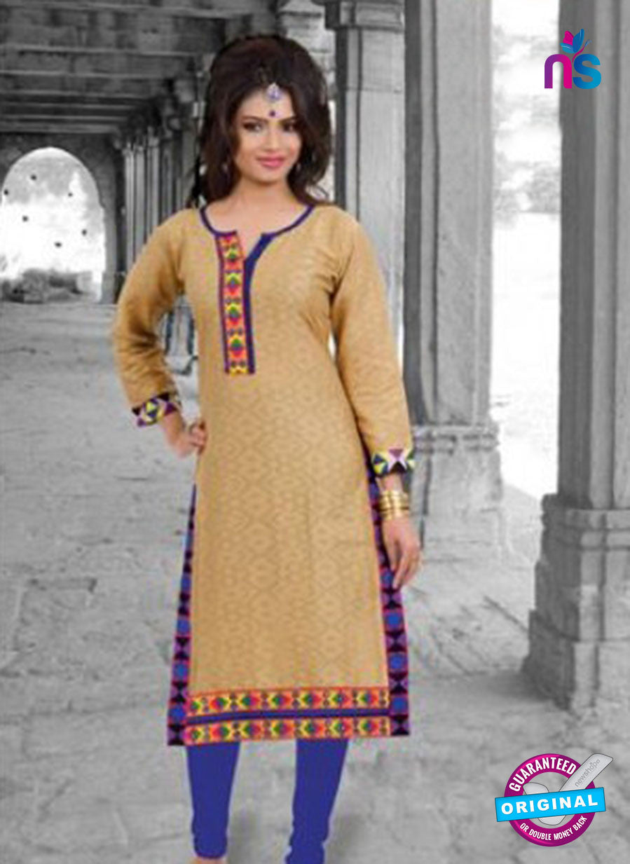 NS10145 Brown Cotton Jacqard Kurti