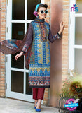 SC 12647 Blue and Multicolor Printed Cambric Pakistani Suit