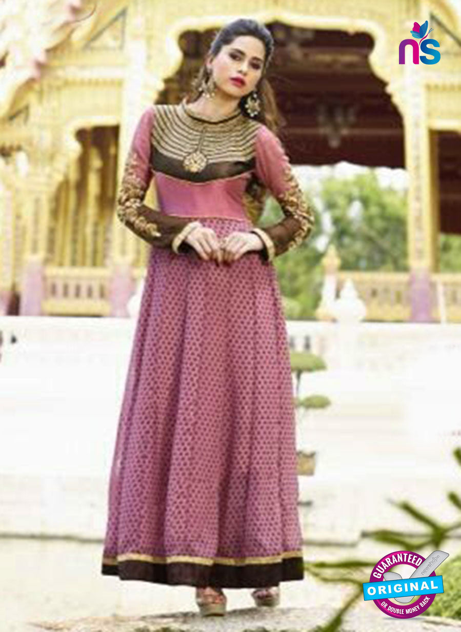 NS10881 A Black and Pink Georgette Anarkali Suit