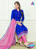 SC 12557 Blue and Pink Embroidered Lawn Cotton Party Wear Straight Suit