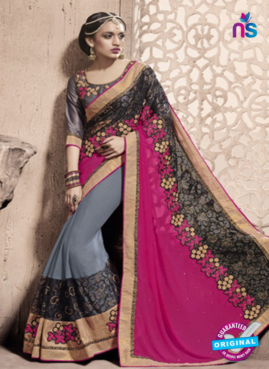 SC 13792 Grey Exclusive Ethnic Wedding Wear Georgette Saree