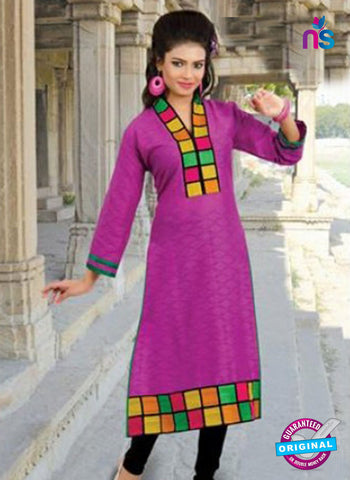 NS10146 Purple Cotton Jacqard Kurti