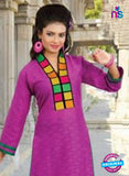 NS10146 Purple Cotton Jacqard Kurti Online