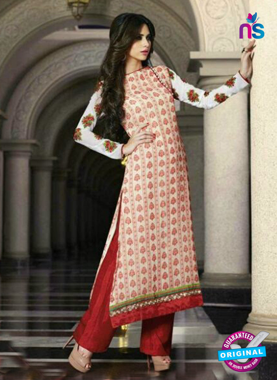NS10884 B Cream and Red Georgette Straight Suit