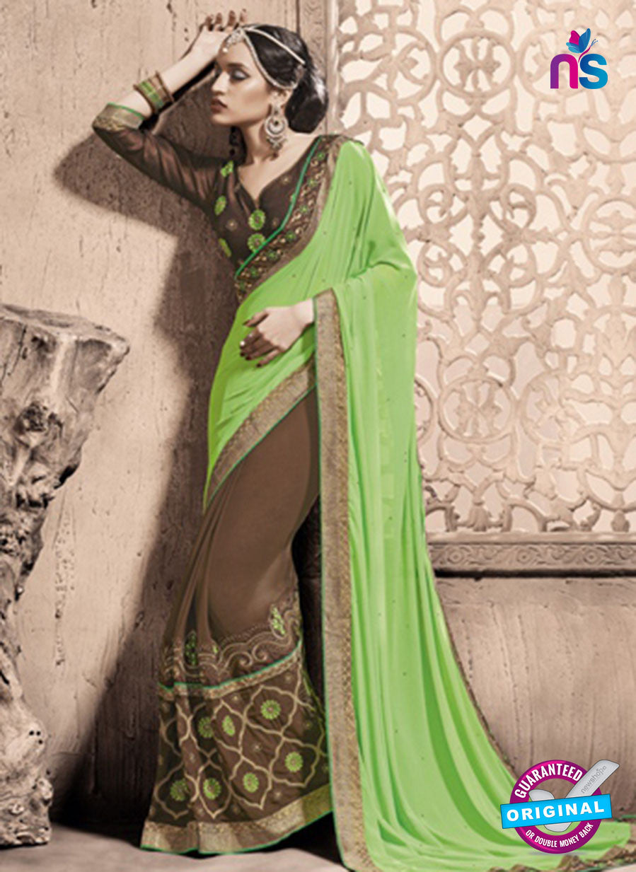 SC 13784 Brown and Green Exclusive Ethnic Wedding Wear Georgette Saree