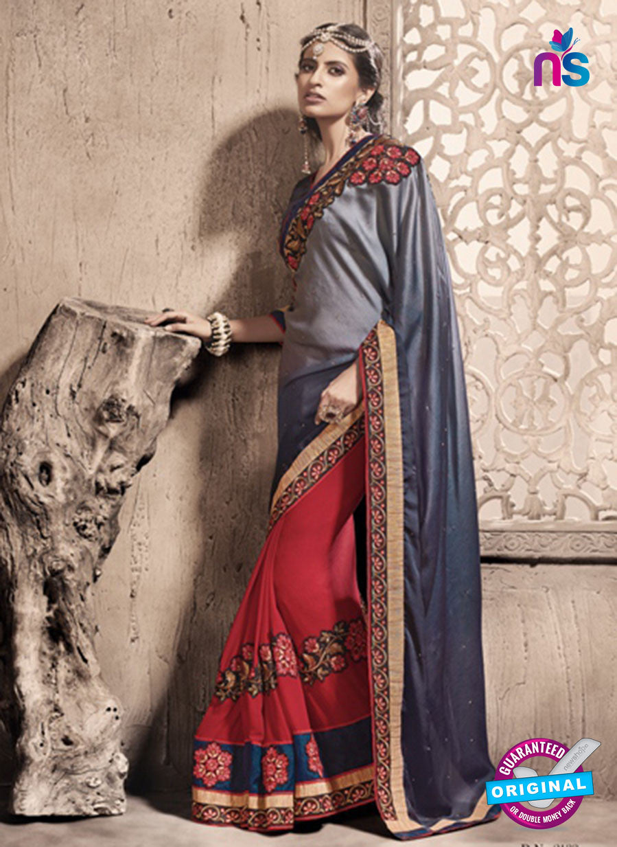 SC 13787 Red and Grey Exclusive Ethnic Wedding Wear Georgette Saree