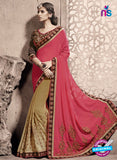 SC 13791 Brown and Pink Exclusive Ethnic Wedding Wear Georgette Saree
