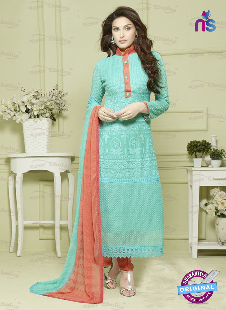 SC 12926 Blue and Orange Pure Chiffon Pakistani Suit