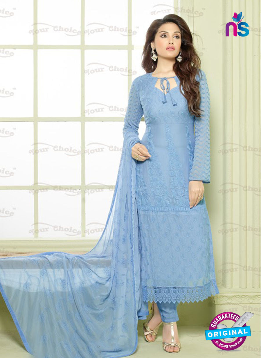SC 12925 Blue Pure Chiffon Pakistani Straight Suit