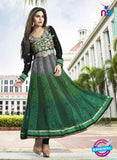 NS10886 B Black, Green and Dark Green Georgette Anarkali Suit