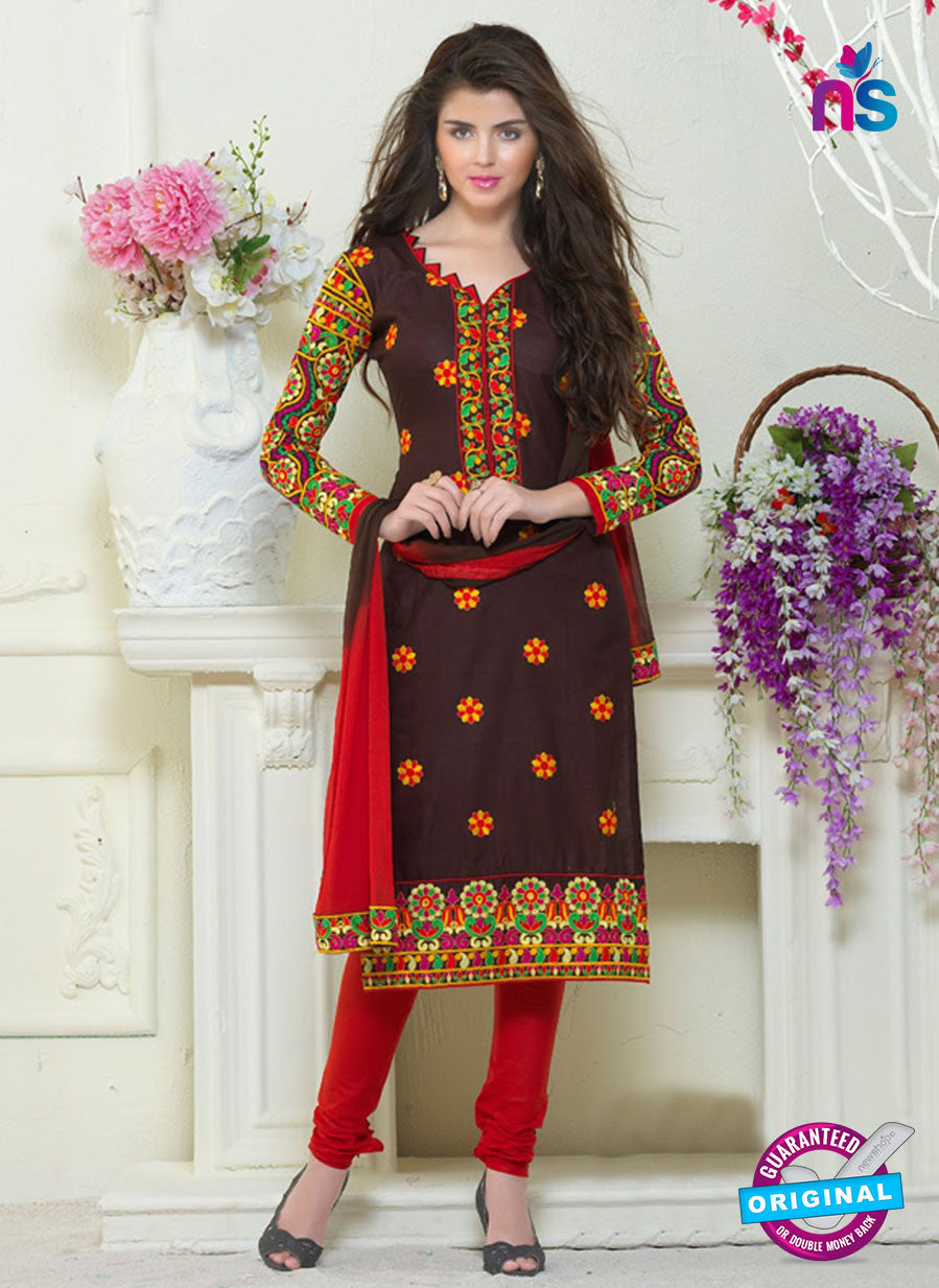 SC 13060 Brown and Red Embroidered Glace Cotton Straight Suit