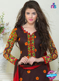 SC 13060 Brown and Red Embroidered Glace Cotton Straight Suit Online