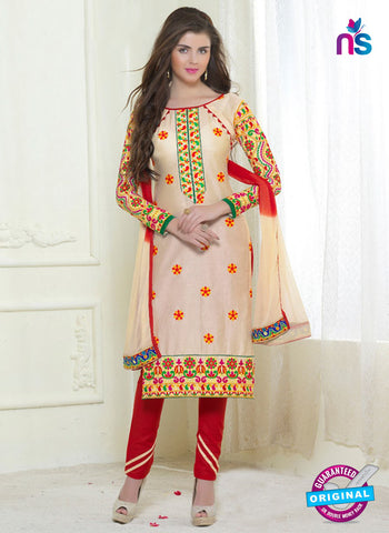 SC 13053 Beige and Red Embroidered Glace Cotton Straight Suit
