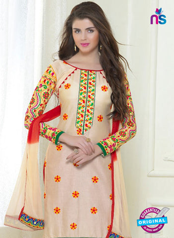 SC 13053 Beige and Red Embroidered Glace Cotton Straight Suit Online