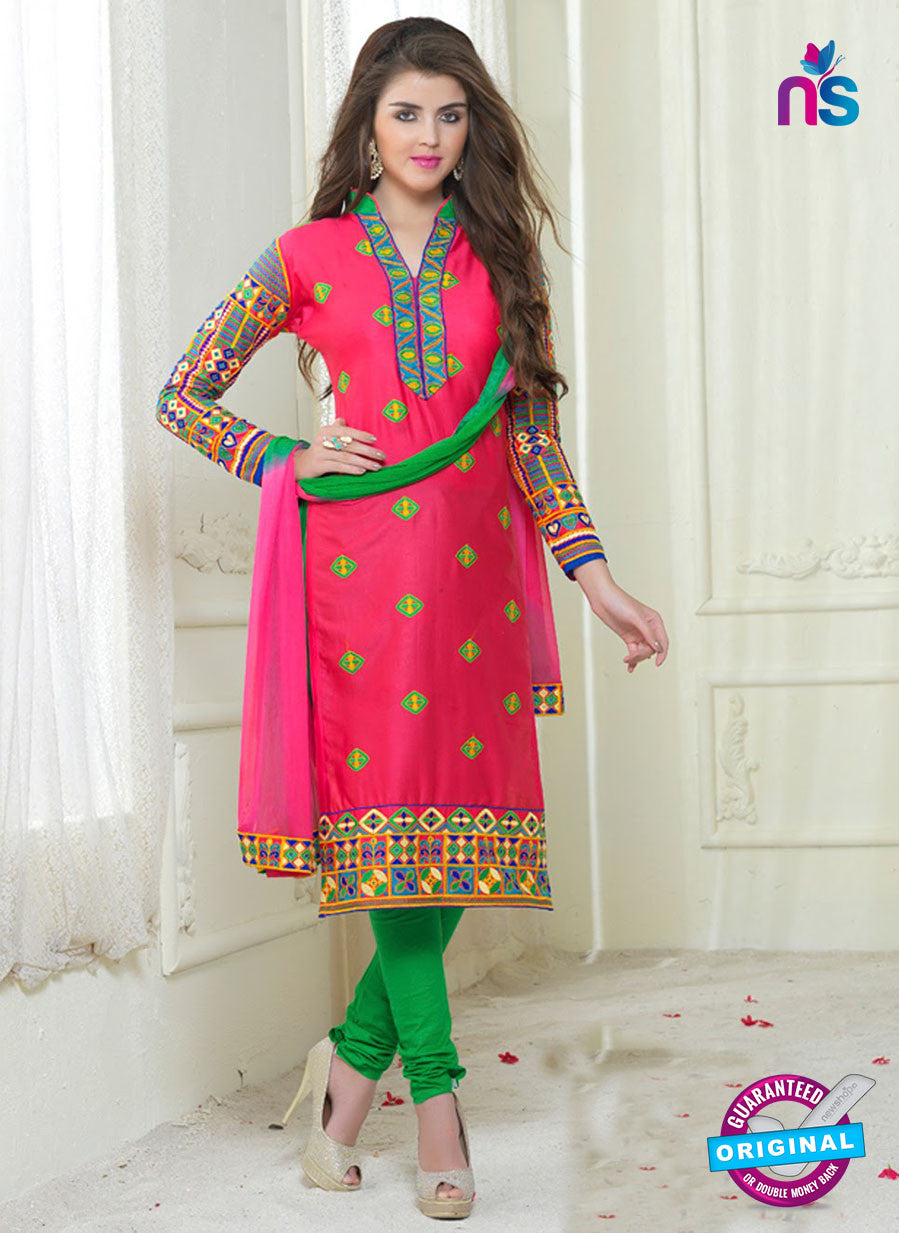 SC 13057 Pink and Green Embroidered Glace Cotton Straight Suit