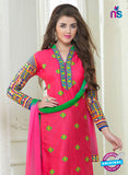 SC 13057 Pink and Green Embroidered Glace Cotton Straight Suit Online
