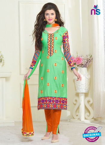 SC 13054 Green and Orange Embroidered Glace Cotton Straight Suit